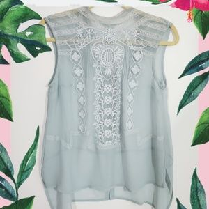 Topshop Sheer Mint Green lace Blouse. Brand New
